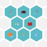 Iconos planos ama de casa, aguamarina, Sofa And Other Vector Elements El sistema de símbolos planos de los iconos de la higiene t libre illustration