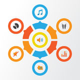 Iconos planos audios fijados Colección de reservado, controlando, Tone And Other Elements También incluye símbolos tal como oreje Fotos de archivo libres de regalías