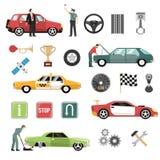 Iconos planos autos del coche fijados ilustración del vector