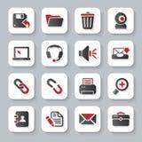 Iconos planos blancos del ordenador Fotografía de archivo
