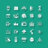 Iconos planos blancos fijados Objeto comercial, herramientas de la oficina Foto de archivo