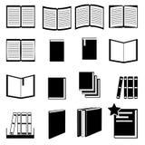 Iconos planos blancos y negros del libro fijados Fotografía de archivo