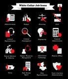 Iconos planos blancos y rojos del trabajo no manual - Imagen de archivo libre de regalías