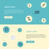 Iconos planos cangrejo, cabra, portador del agua y otros elementos del vector El sistema de símbolos planos de los iconos de la g ilustración del vector