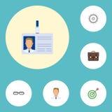 Iconos planos cartera, meta, empleado y otros elementos del vector El sistema de Job Flat Icons Symbols Also incluye la identific Fotografía de archivo libre de regalías