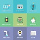 Iconos planos caseros del control de energía fijados stock de ilustración