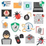 Iconos planos cibernéticos del color del ataque y de la protección fijados stock de ilustración