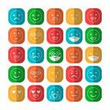 Iconos planos coloreados de emoticons Sonría con una barba, diversas emociones, humores libre illustration