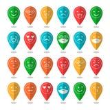 Iconos planos coloreados de emoticons Sonría con una barba, diversas emociones, humores stock de ilustración