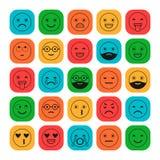 Iconos planos coloreados de emoticons Sonría con una barba, diversas emociones, humores ilustración del vector