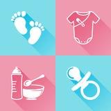 Iconos planos coloridos de los bebés Fotos de archivo libres de regalías