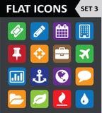 Iconos planos coloridos universales. Fotografía de archivo