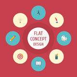 Iconos planos compás, concepto, Pen And Other Vector Elements Sistema de iconos planos originales ilustración del vector