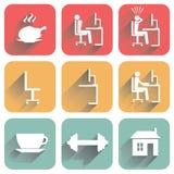 Iconos planos con la sombra Fotos de archivo