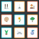 Iconos planos cortacésped, rastrillo, botella del espray y otros elementos del vector El sistema de símbolos planos de los iconos stock de ilustración