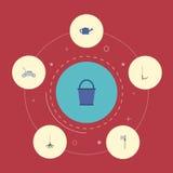 Iconos planos cortador, rastrillo, cortacésped y otros elementos del vector El sistema de símbolos planos de los iconos de la agr libre illustration
