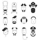 Iconos planos creativos de las caras de las profesiones de la gente ilustración del vector