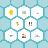 Iconos planos cultivador, rastrillo, cortacésped y otros elementos del vector El sistema de símbolos planos de los iconos de la a ilustración del vector