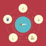 Iconos planos cultivador, rastrillo, Pruner y otros elementos del vector El sistema de símbolos planos de los iconos que cultivan stock de ilustración