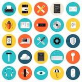 Iconos planos de codificación y programados fijados Foto de archivo