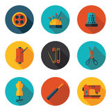 Iconos planos de costura Foto de archivo