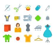 Iconos planos de costura del vector de las herramientas Foto de archivo libre de regalías