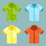 Iconos planos de cuatro Aloha Shirts ilustración del vector