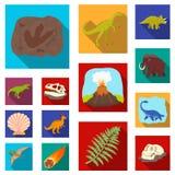 Iconos planos de diversos dinosaurios en la colección del sistema para el diseño Ejemplo animal prehistórico del web de la acción libre illustration