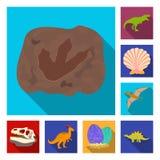 Iconos planos de diversos dinosaurios en la colección del sistema para el diseño Ejemplo animal prehistórico del web de la acción stock de ilustración
