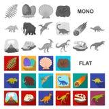 Iconos planos de diversos dinosaurios en la colección del sistema para el diseño Ejemplo animal prehistórico del web de la acción ilustración del vector