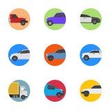 Iconos planos de diversos vehículos Stock de ilustración