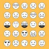 Iconos planos de emoticons Sonría con una barba, diversas emociones, humores stock de ilustración