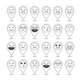 Iconos planos de emoticons Sonría con una barba, diversas emociones, humores libre illustration