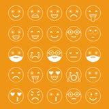 Iconos planos de emoticons Sonría con una barba, diversas emociones, humores ilustración del vector