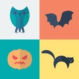 Iconos planos de Halloween Foto de archivo libre de regalías