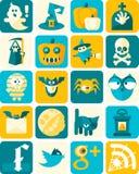 Iconos planos de Halloween con el fondo ilustración del vector
