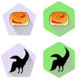 Iconos planos de Halloween de la calabaza y del cuervo Fotos de archivo