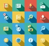 Iconos planos de Internet y del web fijados Foto de archivo libre de regalías
