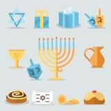Iconos planos de Jánuca de los días de fiesta judíos con las velas del menorah