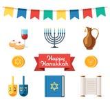 Iconos planos de Jánuca de los días de fiesta judíos