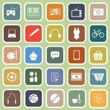 Iconos planos de la afición en fondo verde Imágenes de archivo libres de regalías