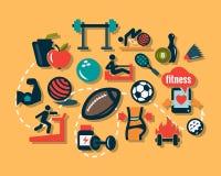 Iconos planos de la aptitud Fotografía de archivo libre de regalías