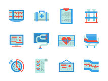 Iconos planos de la atención sanitaria del diseño del color Imagen de archivo libre de regalías