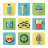Iconos planos de la bicicleta fijados Imágenes de archivo libres de regalías