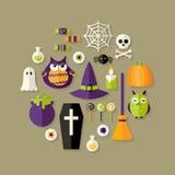 Iconos planos de la bruja de Halloween fijados Fotografía de archivo libre de regalías