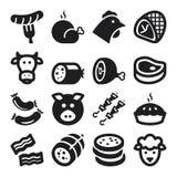 Iconos planos de la carne. Negro ilustración del vector