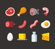 Iconos planos de la carne y de la lechería ilustración del vector
