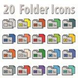 20 iconos planos de la carpeta Foto de archivo libre de regalías