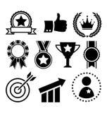 Iconos planos de la celebración del éxito festivo del ganador aislados en blanco ilustración del vector