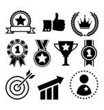 Iconos planos de la celebración del éxito festivo del ganador en blanco ilustración del vector